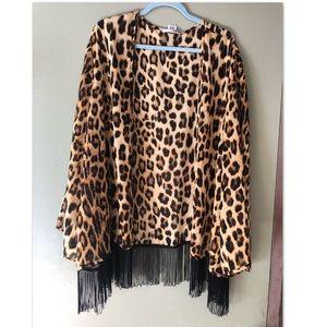 Tops - Woman's plus cheetah cardigan